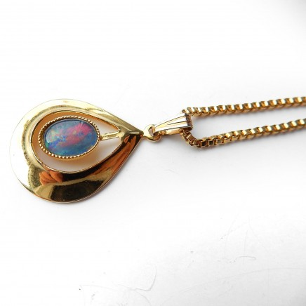 Photo of Vintage 1950s Rolled Gold Opal Pendant & Chain