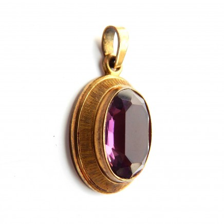 Photo of Vintage 1950s Rolled Gold Purple Pendant Signed A&D