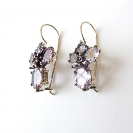 Photo of Vintage Amethyst Hook Earrings Solid Silver