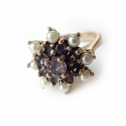 Photo of Vintage Amethyst Seed Pearl Ring Sterling Silver