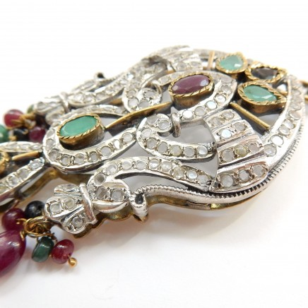 Photo of Vintage Art Deco Emerald Ruby Sapphire Lavalier Necklace Sterling Silver Fine Jewelry