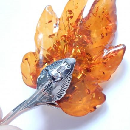 Photo of Vintage Baltic Amber Leaf Brooch Sterling Silver