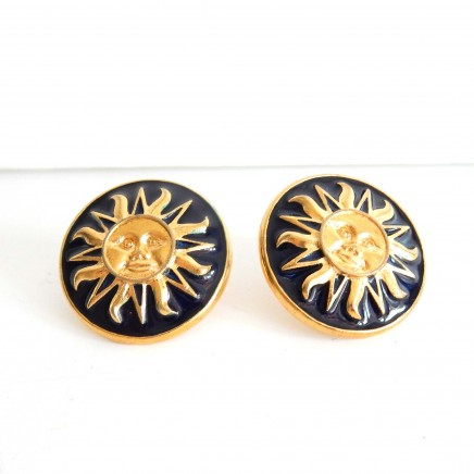 Photo of Vintage Black Gold Sunshine Earrings