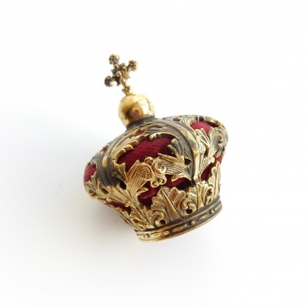 Photo of Vintage Brass Novelty Crown Pin Cushion