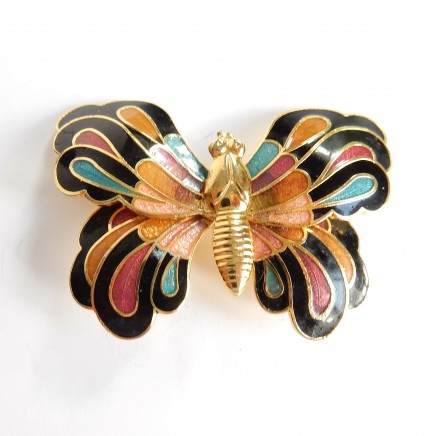 Photo of Vintage Cloisonne Enamel Butterfly Brooch Pin