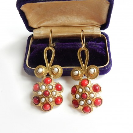 Photo of Vintage Coral & Pearl Gold Plated Earrings