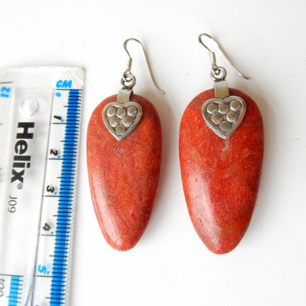 Photo of Vintage Coral Heart Earrings Solid Silver