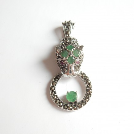 Photo of Vintage Emerald & Ruby Panthere Cat Pendant Sterling Silver
