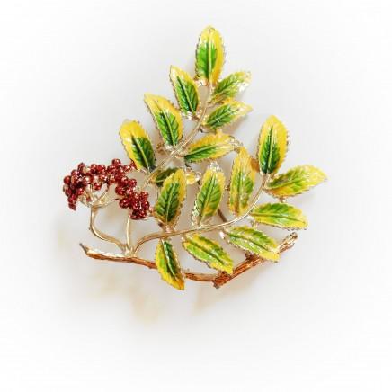 Photo of Vintage Exquisite Enamel Berries & Leaf Bouquet Pin Brooch