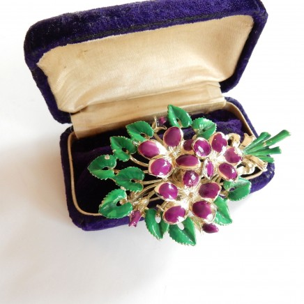 Photo of Vintage Exquisite Purple Enamel Flower Bouquet Pin Brooch