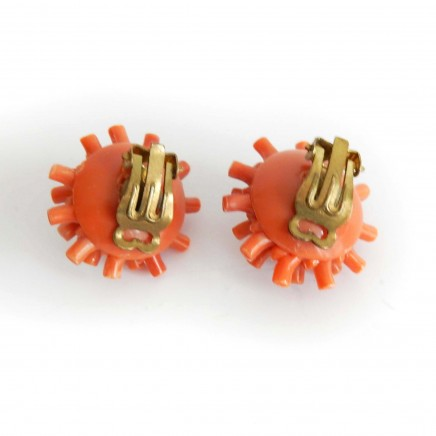 Photo of Vintage Faux Coral Branch Clip on Earrings West Germany