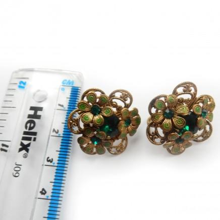 Photo of Vintage Filigree Czech Glass Emerald Enamel Screw Back Earrings