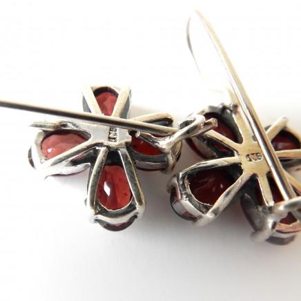 Photo of Vintage Garnet Flower Earrings Solid Silver