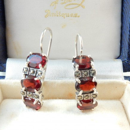 Photo of Vintage Garnet Marcasite Drop Earrings Sterling Silver