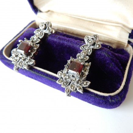 Photo of Vintage Garnet Marcasite Earrings Solid Silver