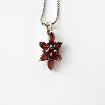 Photo of Vintage Garnet Pendant Solid Silver Necklace