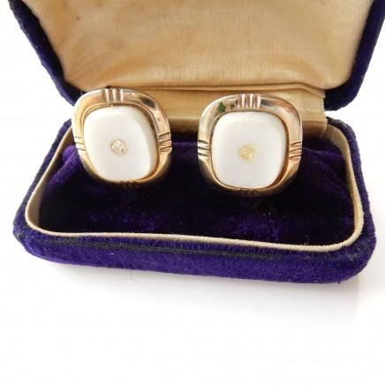 Photo of Vintage Gold & White Gentlemans Cufflinks Wedding Gift Accessory