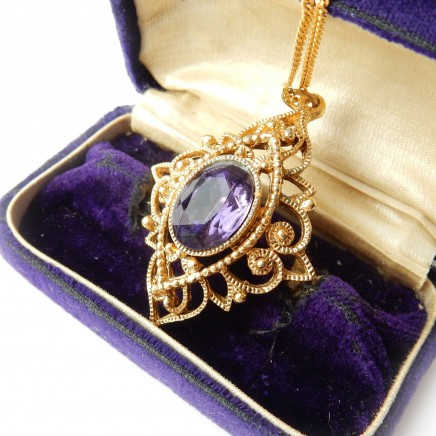 Photo of Vintage Gold Purple Paste Pendant & Goldplated Chain Gift