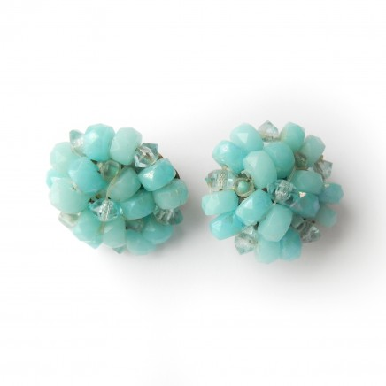 Photo of Vintage Hand Made Turquoise Crystal Bead Clip on Earrings West Germany