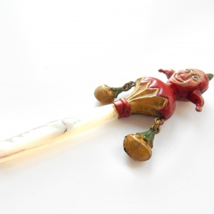 Photo of Vintage Hand Painted Brass Punch & Judy Pearl Baby Rattle