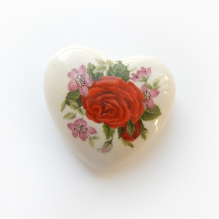 Photo of Vintage Hand Painted Porcelain Rose Heart Pendant
