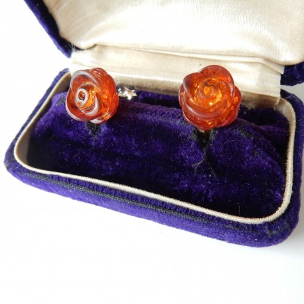 Photo of Vintage Honey Amber Rosebud Stud Earring Solid Silver