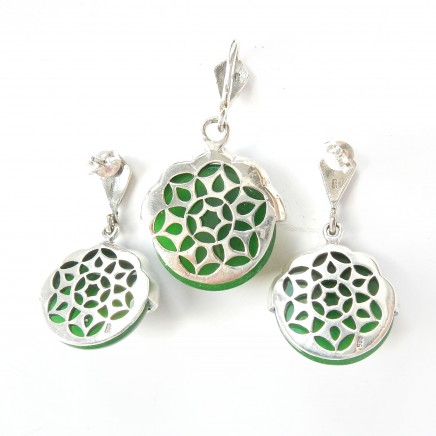 Photo of Vintage Jade Art Deco Marcasite Earrings Pendant Jewelery Set Sterling Silver