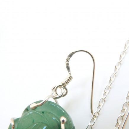 Photo of Vintage Jade Flower Earrings Pendant Jewelery Set Sterling Silver
