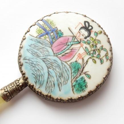 Photo of Vintage Japanese Geisha Porcelain Jade Hand Mirror Ceramic Hand Painted Mirror