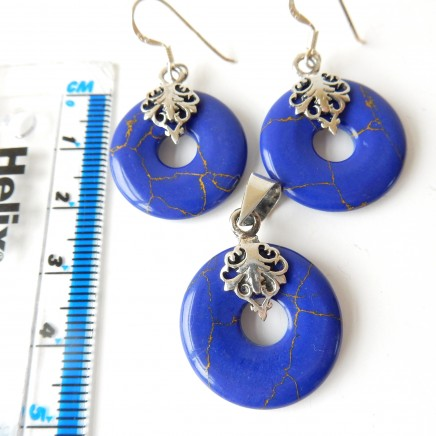 Photo of Vintage Lapis Lazuli Earrings Pendant Jewelry Set Solid Silver