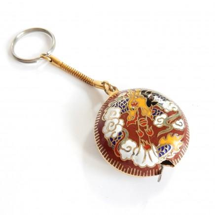 Photo of Vintage Oriental Cloissone Enamel Tape Measure on Key Chain