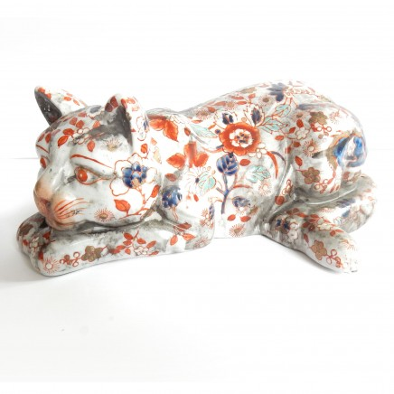 Photo of Vintage Porcelain Japanese Imari Cat Ornament Figurine
