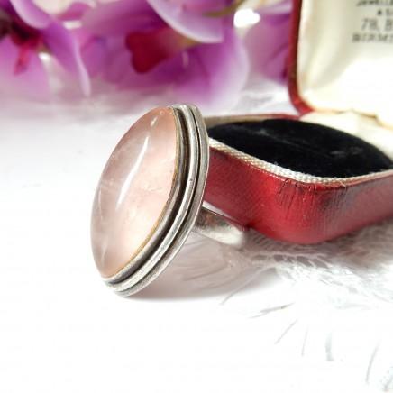 Photo of Vintage Rose Quartz Navette Ring Sterling Silver US Size 8 Pink Gemstone