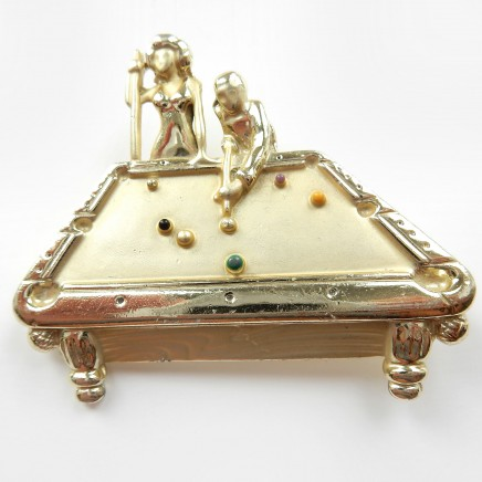 Photo of Vintage Signed AJC Billiards Snooker Pool Table Brooch