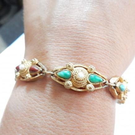 Photo of Vintage Signed West Bracelet Turquoise & Coral