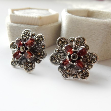 Photo of Vintage Solid Silver Garnet Marcasite Earrings
