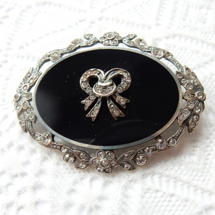 Photo of Vintage Sterling Silver Enamel Cubic Zirconia Ribbon Bow Brooch Pin Belle Epoque