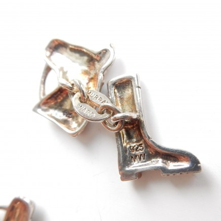 Photo of Vintage Sterling Silver Equestrian Horse Riding Boot Cufflinks Signed Murray