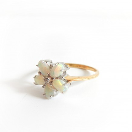Photo of Vintage Vermeil Gold Opal Diamond Flower Ring Sterling Silver Ring Size 6 3/4