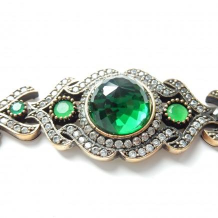 Photo of Vintage Vermeil Silver Green Chalcedony Crystal Bracelet