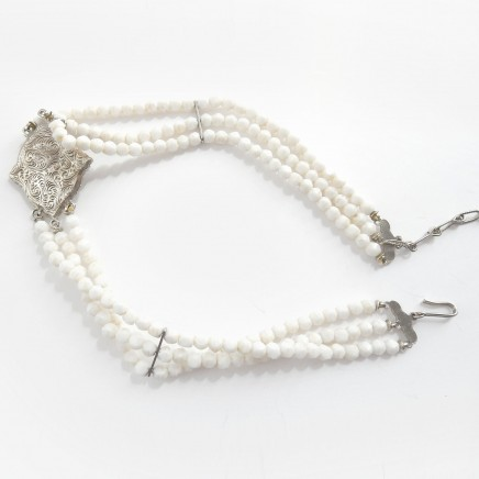 Photo of Vintage Victorian Revival Faux Pearl Choker Necklace Enamel Rhinestone Accents