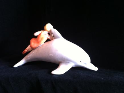 Photo of Art Deco Porcelain Dolphin Pin Lady