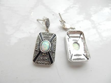 Photo of Art Deco Opal & Black Enamel Earrings