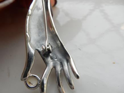 Photo of Art Deco Fine Silver & Pearl Ladies Hand Brooch