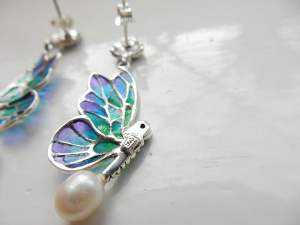 Photo of Silver Pearl & Enamel Insect Droplet Earrings