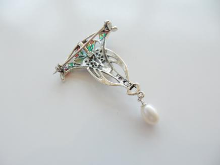 Photo of Art Nouveau Pearl & Enamel Pendant
