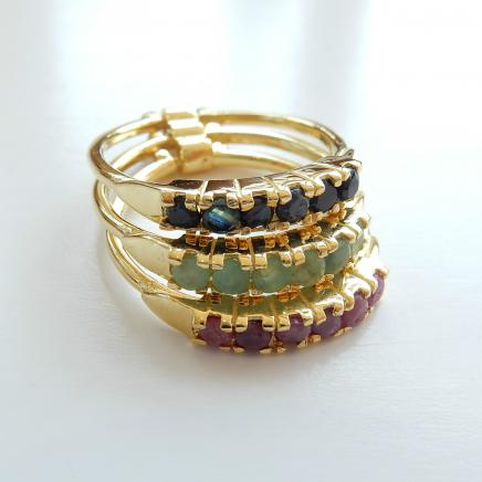 Photo of Emerald Sapphire & Ruby Stack Ring