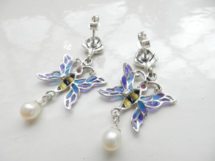 Photo of Pair French Enamel Butterfly Earrings