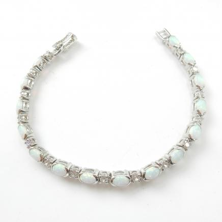 Photo of Delicate Sterling Silver & Opal Link Bracelet