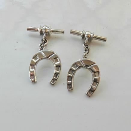 Photo of Pair Sterling Silver Horse Shoe Cufflinks